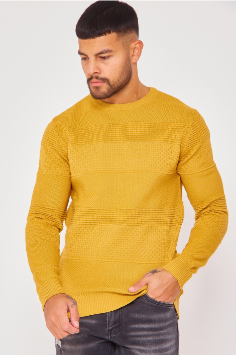 Pull en maille moutarde bandes relief