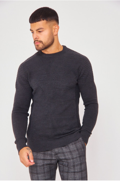 Pull gris anthracite col rond en maille à relief