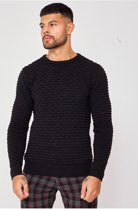 Pull noir col rond maille en relief