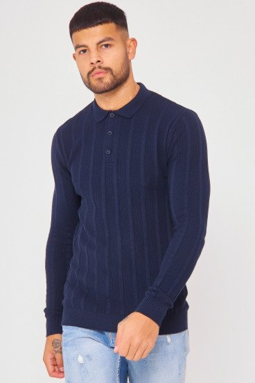 Pull bleu marine col polo maille en relief