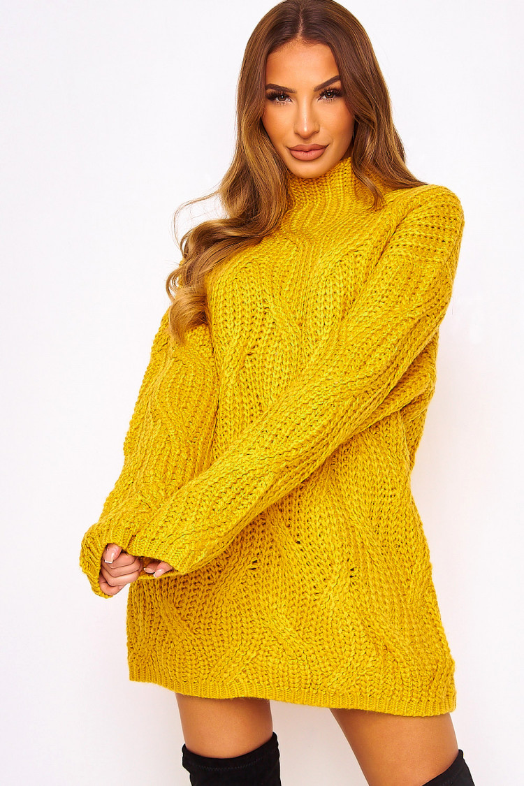 Robe Pull En Maille Moutarde Oversize Brentiny Paris