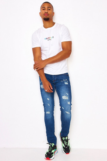 T-shirt blanc broderie Brentiny multicolore