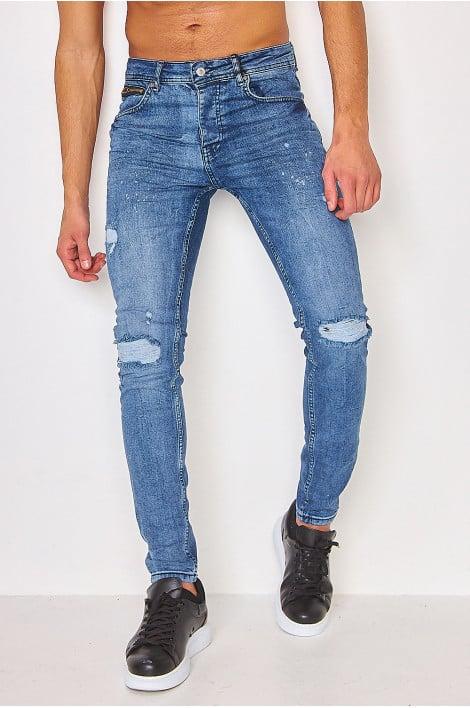 Jeans skinny bleu déchiréet griffé / Project X - TP21029