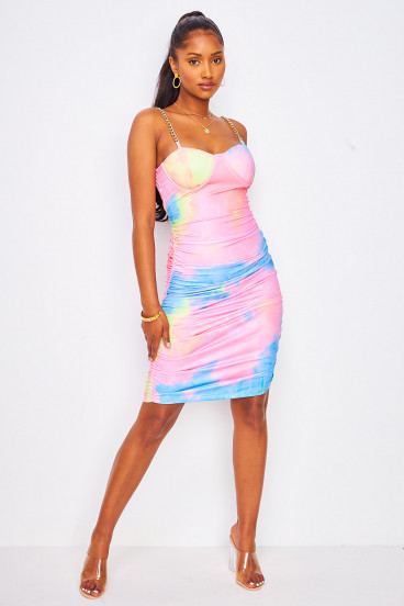 Robe moulante tie and dye rose bretelles chaines