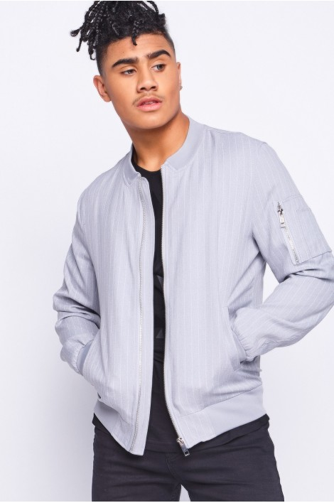 Bomber gris à rayures blanches