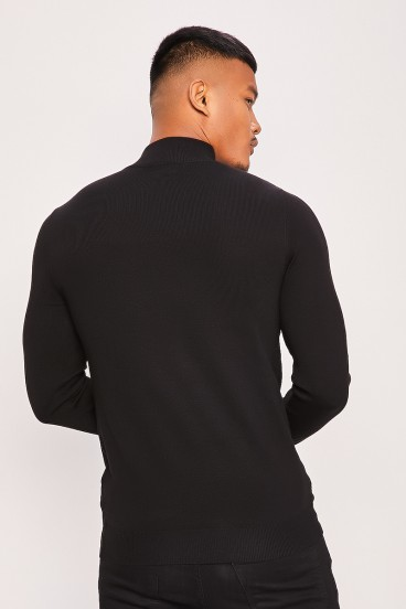 Pull fin col montant noir