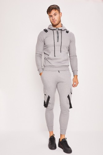 Ensemble gris sweat + jogging à fermoir