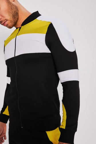 Ensemble color block jaune veste + jogging / Uniplay