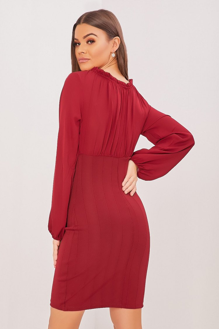 clearance prices outlet store buy popular Robe bordeaux manches longues en voile