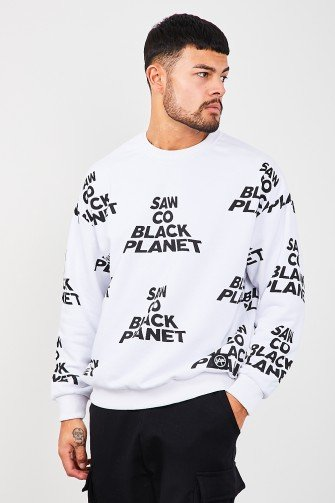 "Sweat blanc ""Saw co black planet"""