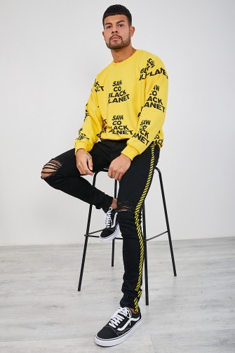 "Sweat jaune ""Saw co black planet"""