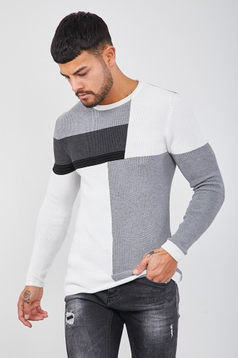 Pull blanc colorblock en maille